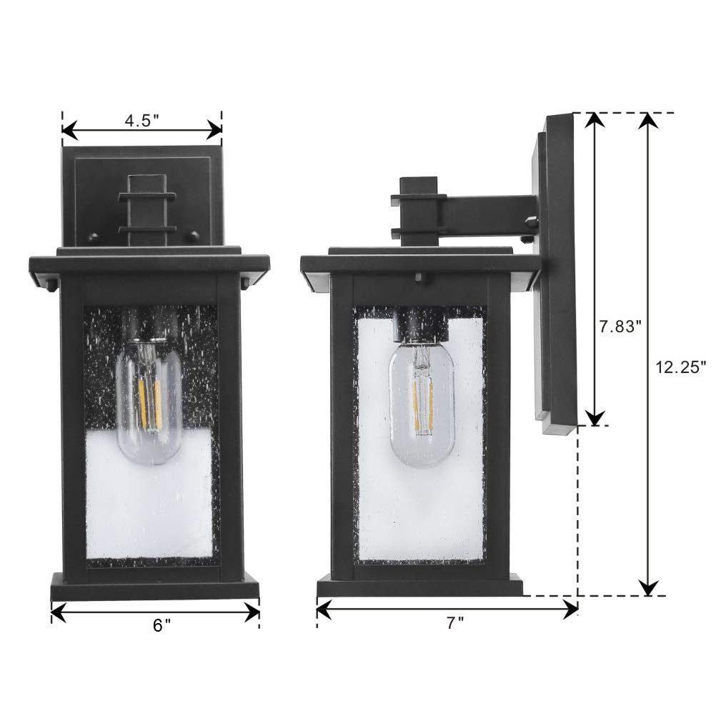 Emliviar Outdoor Wall Mount Lights 2 Pack, 1-Light Exterior Sconces Lantern in Black Finish with Clear Seeded Glass, OS-1803EW1-2PK by EMLIVIAR (Image #7)