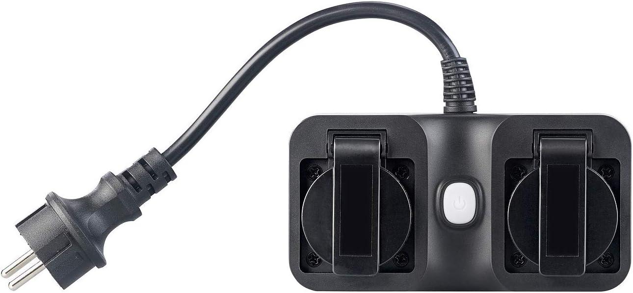 Double prise dext/érieur connect/ée compatible  Alexa et/Google Assistant SF-620.avs Luminea