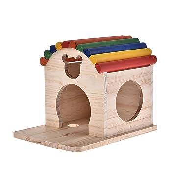 lennonsi Casa de madera para mascotas pequeñas, de lujo, natural, colorido, ecológico