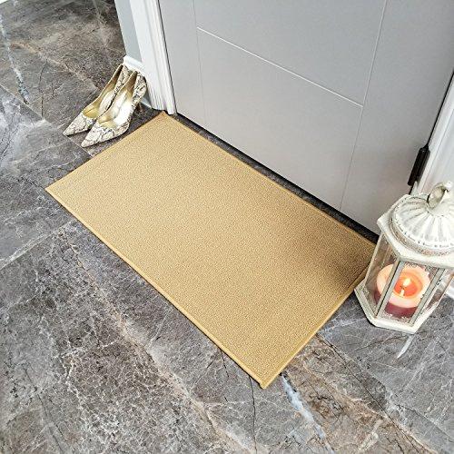 (Doormat 18x30 Solid Light Beige Kitchen Rugs and mats   Rubber Backed Non Skid Rug Living Room Bathroom Nursery Home Decor Under Door Entryway Floor Carpet Non Slip Washable   Made in Europe)