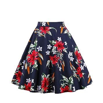FSDFASS Faldas Estampado Floral Partido de la Vendimia Faldas de ...