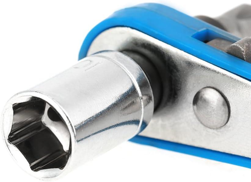 bleu mini cl/é /à cliquet avec embout de tournevis en acier au chrome vanadium Cl/é /à douille /à cliquet