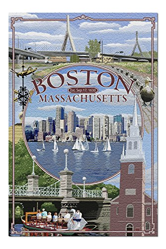 Boston, Massachusetts - Montage (20x30 Premium 1000 Piece Jigsaw Puzzle, Made in USA!)