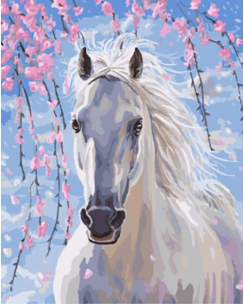 MMLXHH Pintura Digital de Bricolaje Cuadros Pintura DIY por Números De Caballos Animales Pintura Al Óleo Decoración para El Hogar Pintura Y Caligrafía 40 * 50 Cm