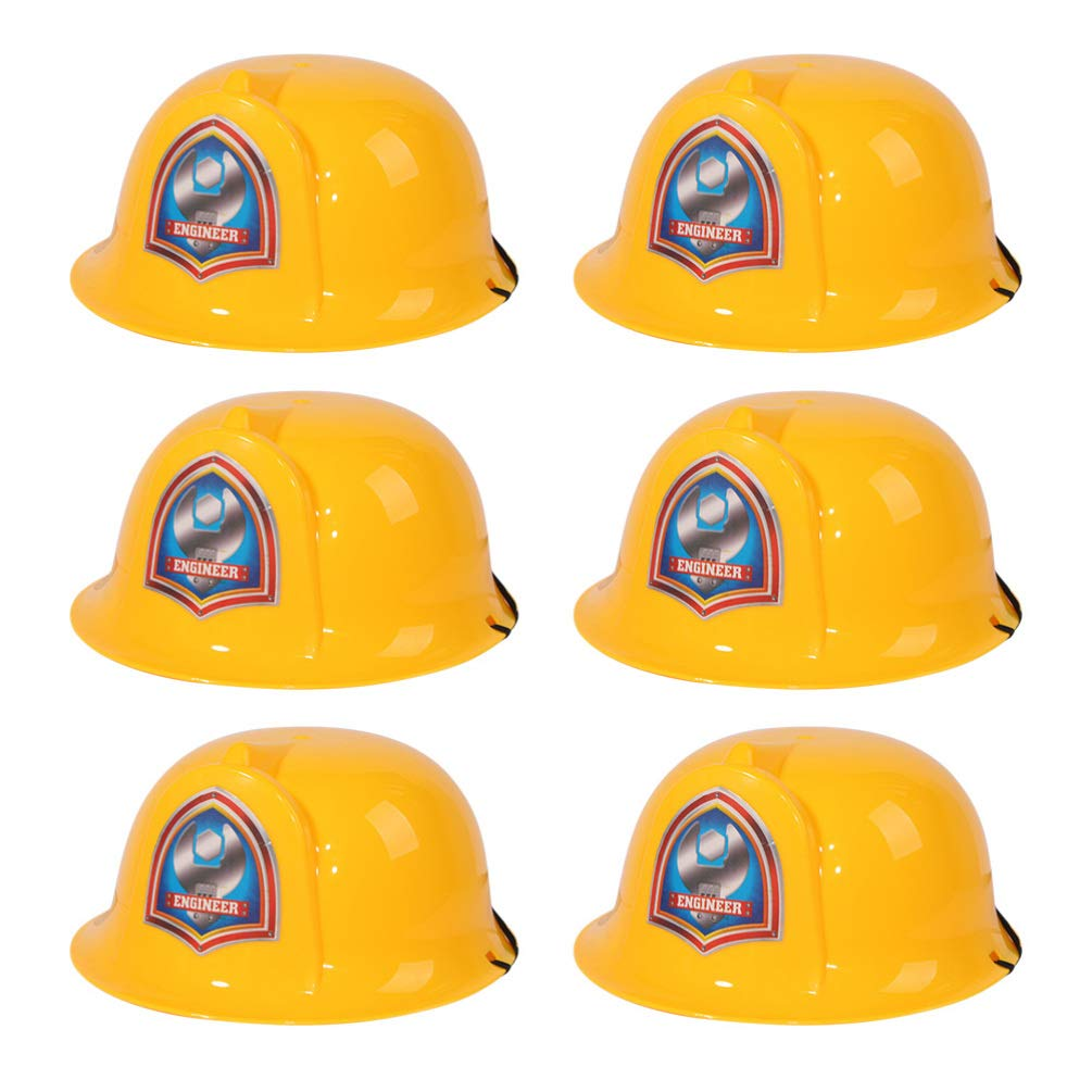 6pcs Plastic Yellow Hats Kids Party Hat Engineer Hat for Children Toddler NUOBESTY Kids Construction Hard Hats