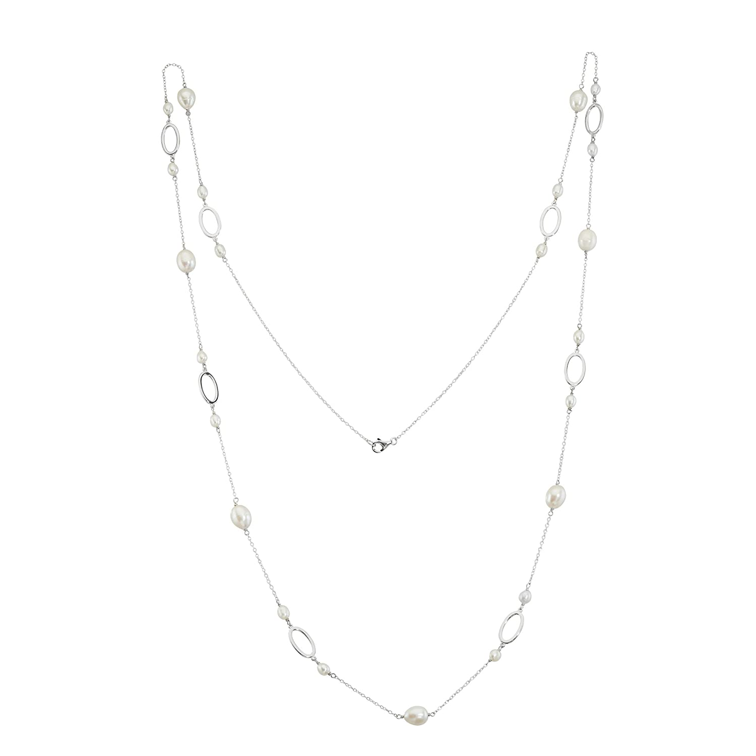 "Sterling Silver 36"" Cultured Freshwater Pearls & Oval Designs Necklace"