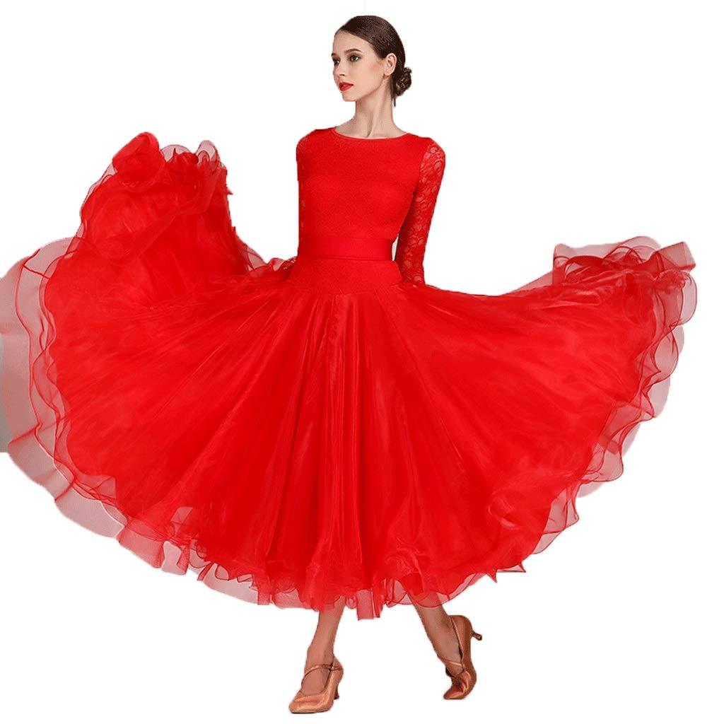 新しいブランド 女性のための全国標準の社交ダンスドレスダンスダンスウェアレースの袖現代ワルツタンゴダンスパフォーマンス衣装グレートスイング レッド B07QCT4K1C B07QCT4K1C XL XL|レッド レッド XL, 宇宙百貨店:23e90127 --- a0267596.xsph.ru