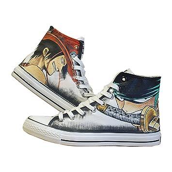 Una pieza Luffy Zoro Ace ley Cosplay zapatos zapatillas zapatos de lona pintado a mano zapatos 4 opciones, Ace Zoro Multicolor: Amazon.es: Deportes y aire ...