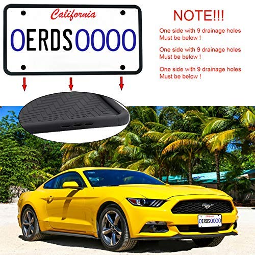 ZOORE 2PCS Premium Silicone License Plate Frames, Car Tag Holders with 9 Drainage Holes, Ideal Universal American Auto Licenses Plate Covers Holder Rust-Proof/Rattle-Proof/Weather-Proof Black