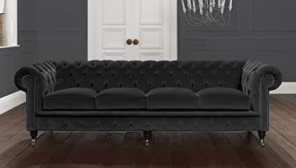 4 Seater Ashes Black Italian Velvet Chesterfield Sofa | UK ...