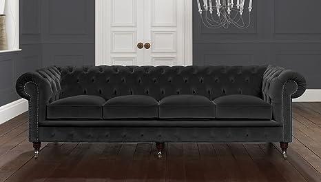 3 plazas Cenizas Negro Terciopelo Italiano Chesterfield sofá ...