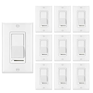 [10 Pack] BESTTEN Dimmer Light Switch, Universal Lighting Control, Single-Pole or 3-Way, Compatible with Dimmable LED, CFL, Incandescent, Halogen Bulb, Decorative Wall Plate Included, UL Listed, White