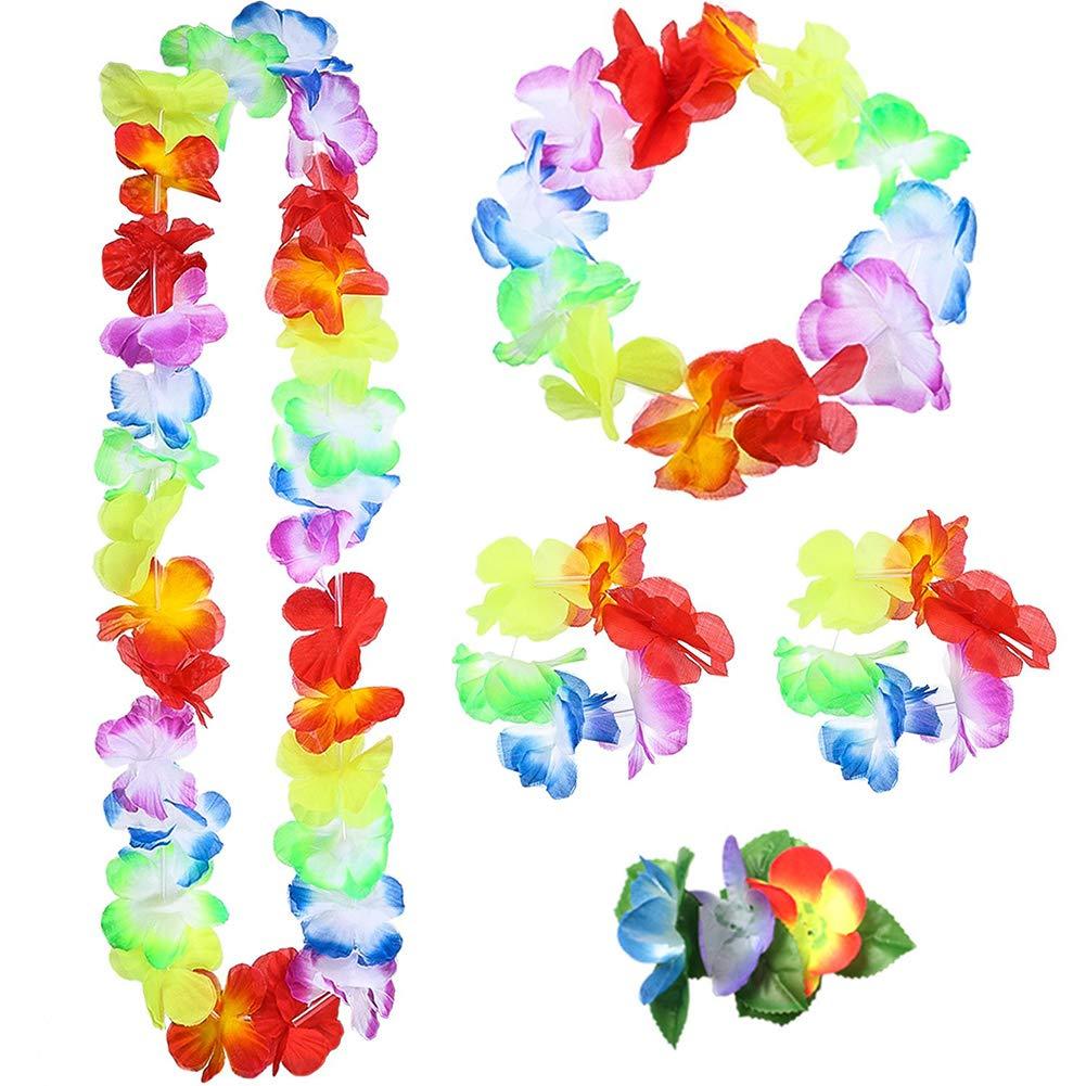 SUNSHINETEK 6 Pezzi Hawaiian Hula Set tra Cui Collana di Fiori Leis Bracciali Fascia Erba Hula Gonne per Le Donne Ragazze Fancy Dress Decorazione del Partito