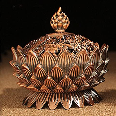 XIDUOBAO Alloy Metal Buddha Incense Burner Holder Lotus Flower Incense Burner Candle Holder Censer- Buddhist Decor,Home Decoration. (02)