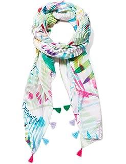 Wei/ß Herstellergr/ö/ße: U One Size Desigual Damen Poncho Bahamas Woman White Schal Crudo 1001