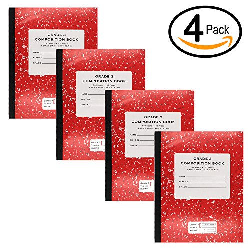 Book Back Covers - Emraw Grade 3 Primary Composition Ruling Book 50 Sheet Office Dairy Drawing Note Books Smooth Spine Journals Meeting Notebook Hard Cover Pack Of 4 Writing Backpack Book For school