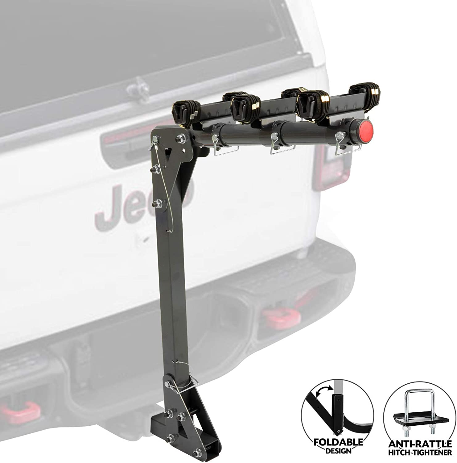 Bicycle Carrier Racks Adjustable Cradles for All Bike with//Without Cross-Bar FieryRed 3-Bike Racks for 2 inch Hitch