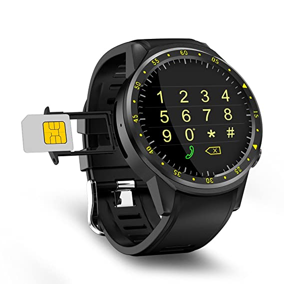 Logobeing Reloj GPS Bluetooth Deporte Relojes Inteligentes Fitness Tracker Cámara Frontal (Negro)