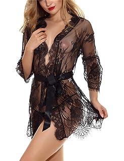 ba37fc65b0 Sexy Lencería Picardias Mujer Body Transparente Conjunto de Encaje Pecho  Abierto Sexy Ropa Erótica Pijama Encaje y Tul…