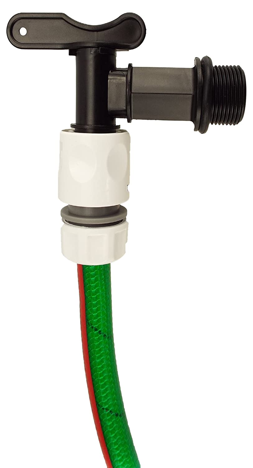 Water Butt the irrigation specialists 3//4BSPM threaded black valve with click-lock connector,by Cost Wise/®