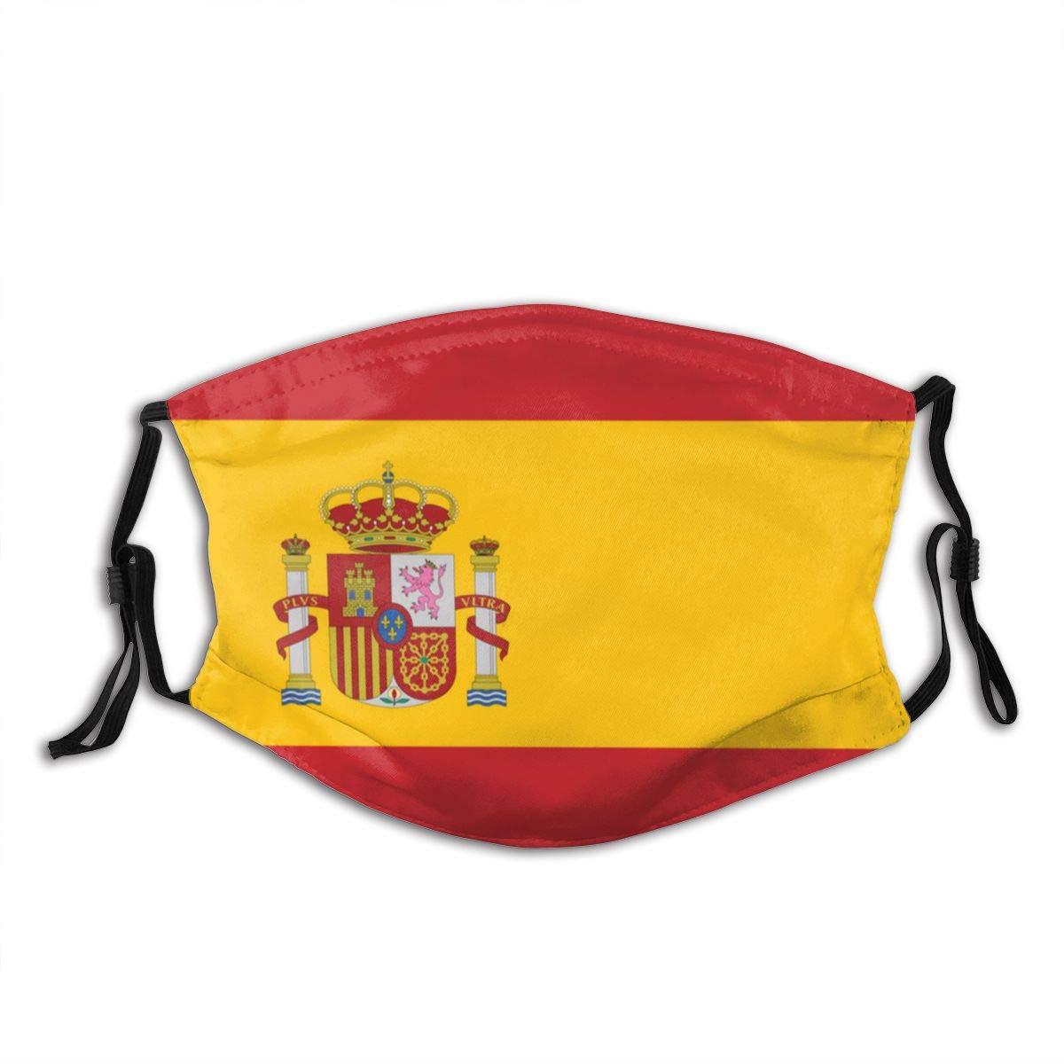 Divertida cubierta bucal a prueba de polvo lavable reutilizable bandera de España seguridad protectora cálido a prueba de viento para mujeres hombres
