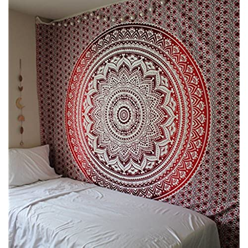 Exclusive Branded Ombre Tapestry By The Boho Street Indian Mandala Wall Art Hippie Hanging Bohemian Bedspread Approx 220 Cm X 240