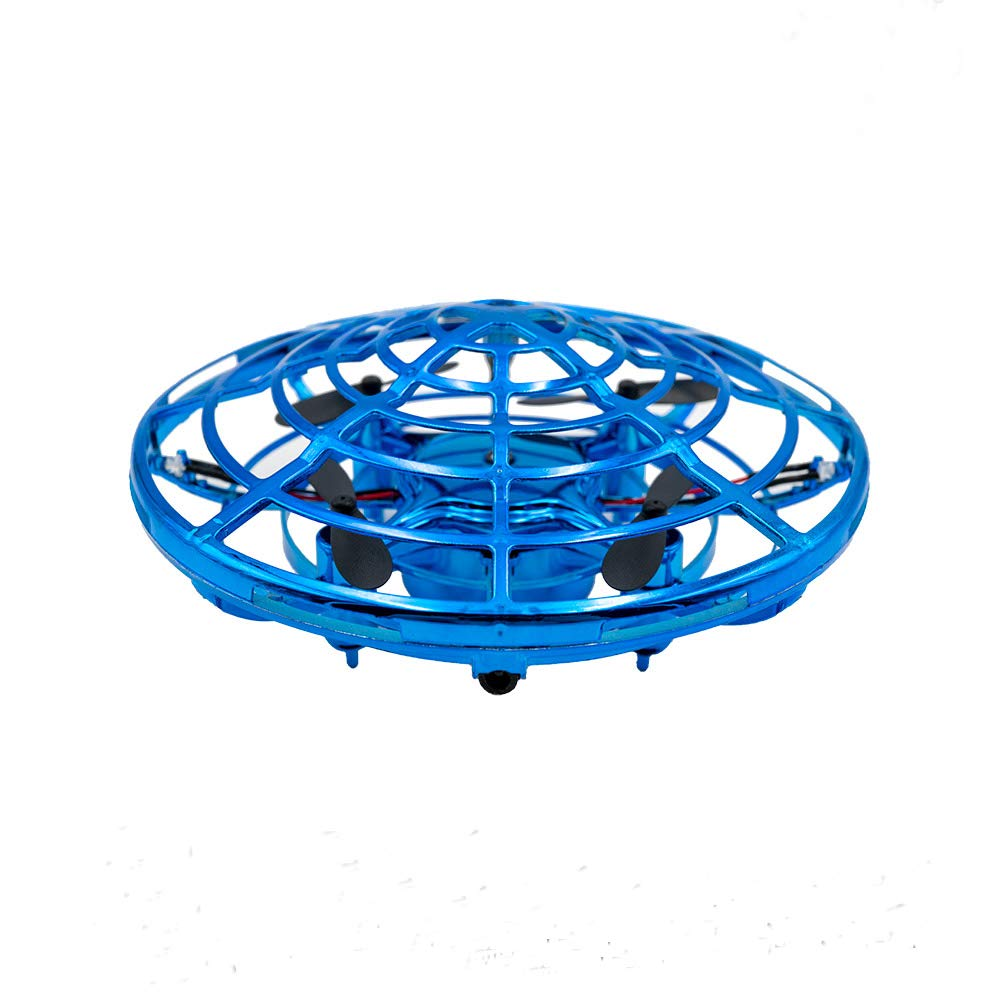 CoCuKi Mini Drone Toy for Kids- Hand Controlled LED Flashing RC Infrared Induction Indoor Outdoor Quadcopter - for 6+ Boys & Girls, Gift Idea (Royal Blue)
