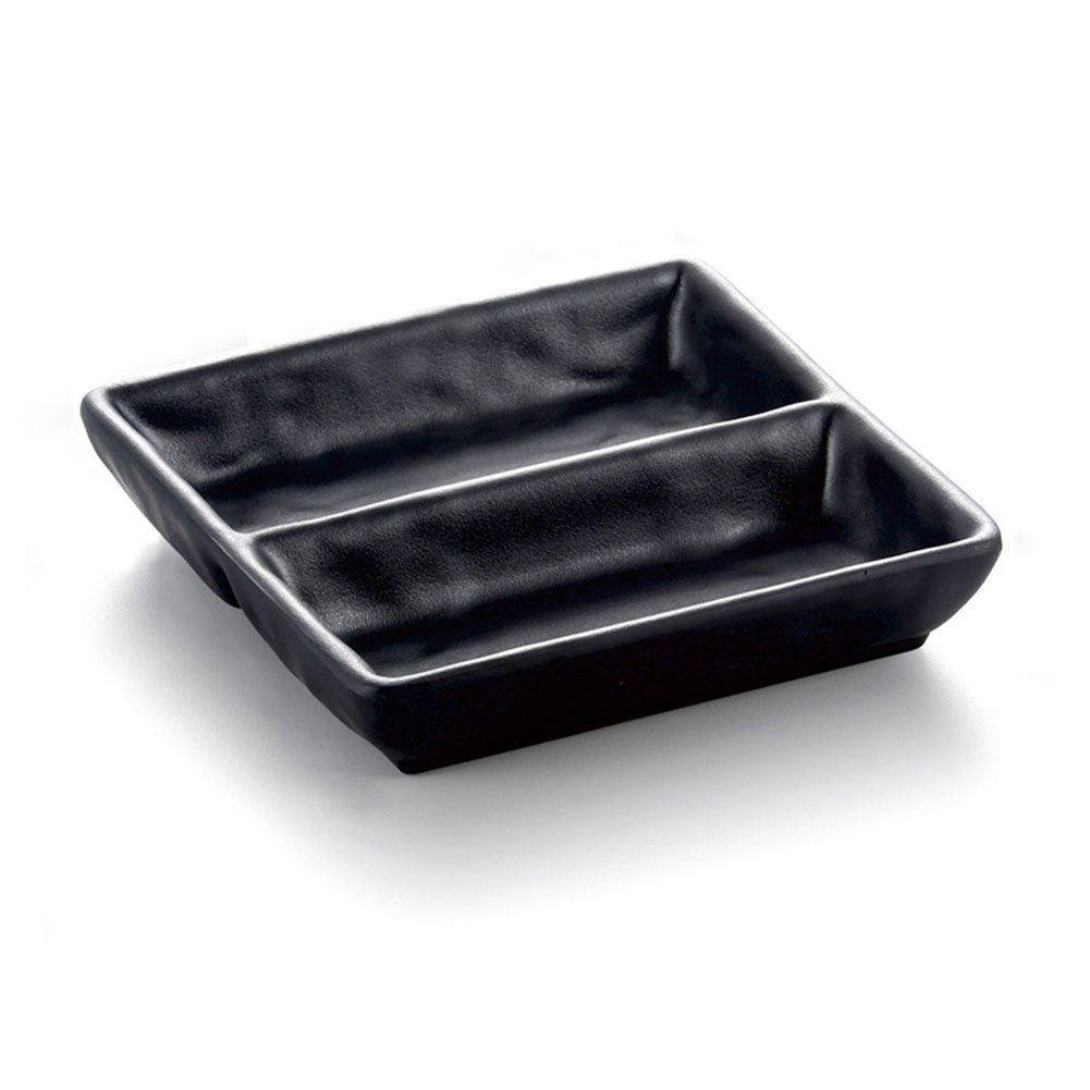HaloVa Condiment Dishes, Creative Frosted Sauce Dishes, Multipurpose Divided Nonslip Dipping Bowls with Two Compartments for Home Kitchen Table Spices Soy Sushi Vinegar, 5.6 x 5.6 x 1.2 Inches