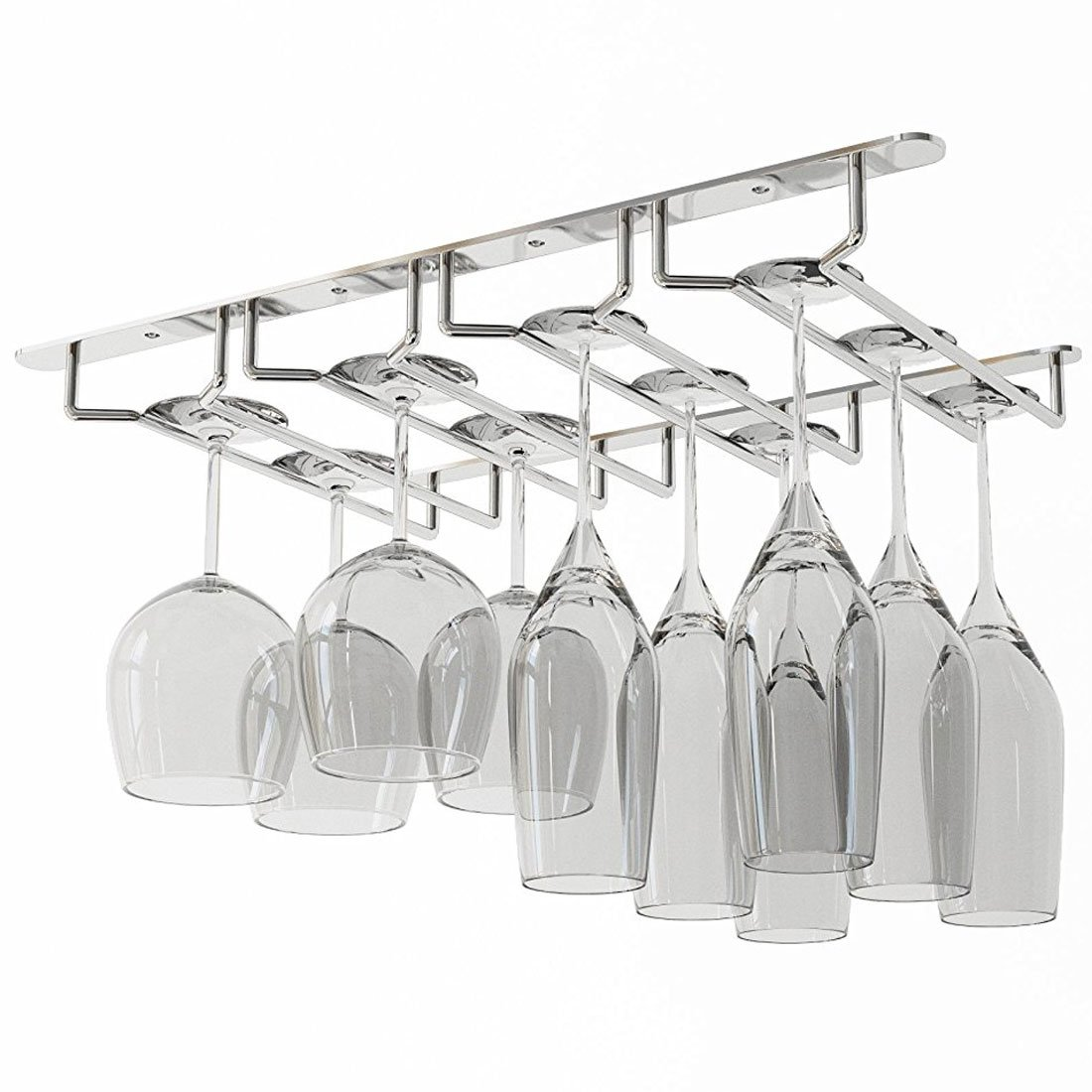 Wallniture Under Cabinet Stemware Glass Storage Rack Chrome Finish 17 3/4