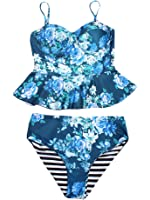 Doubleal Women's Retro Floral Print Striped Peplum Tankini Swimsuit Strappy Push Up High Waist Chic Bikini Set