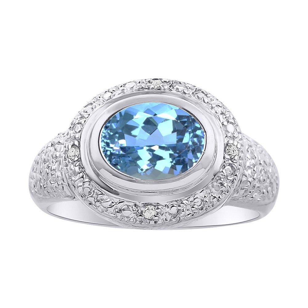 Diamond /& Blue Topaz Ring Set In Sterling Silver Color Stone Birthstone Ring Diamond Halo