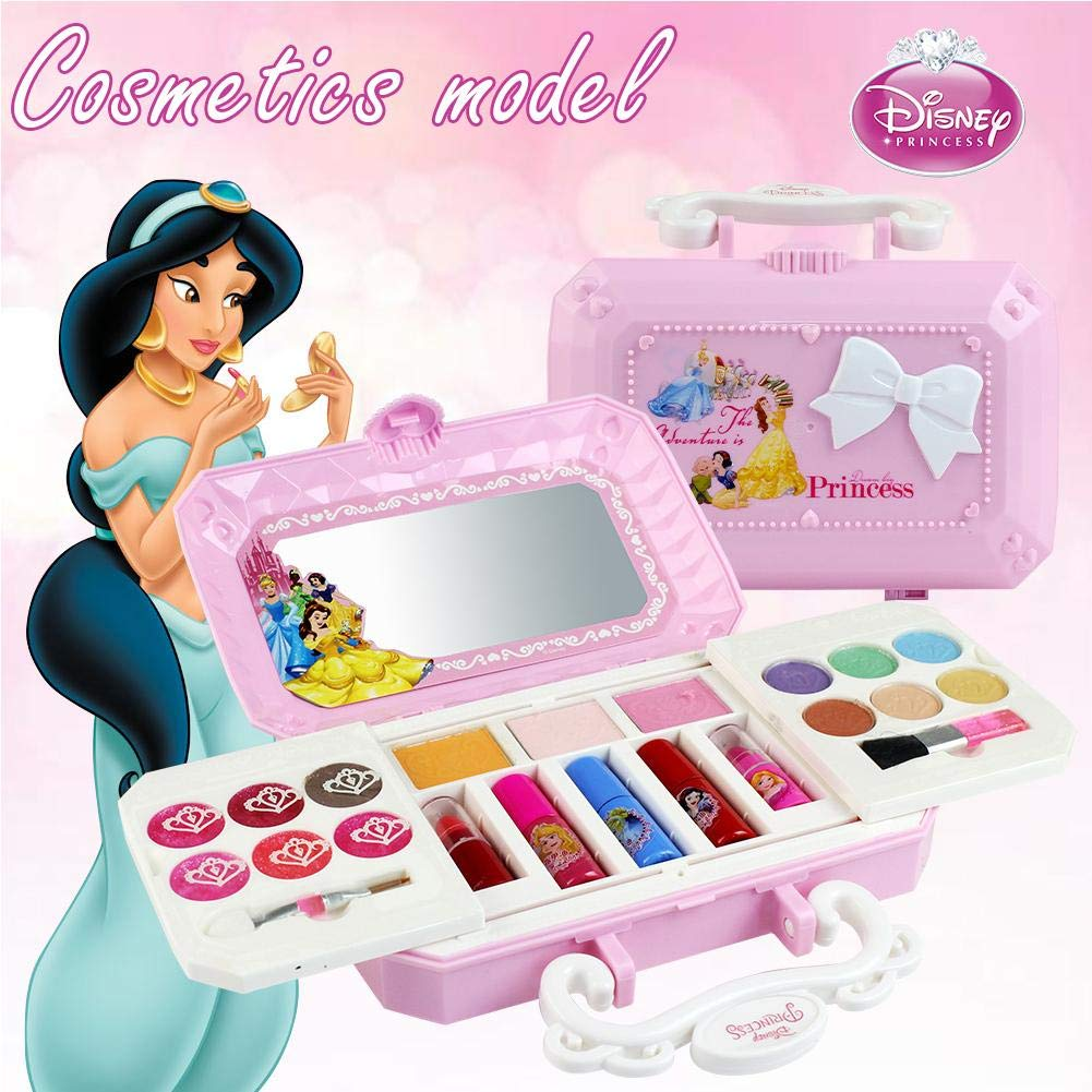 9bb0f0aff20e Disney 23pcs Princess Girls Cosmetics Play Set with Mirror | Washable & Non  Toxic | Princess Real Makeup...