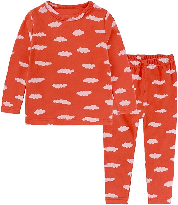 Kids Tales 2Pcs Boys Girls Cotton Pajamas Set Long Sleeve Sleepwear Tops Bottoms