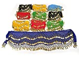 REINDEAR Wholesale Belly Dance Dangling Gold Coins Belly Dance Hip Scarf (24 Pcs)