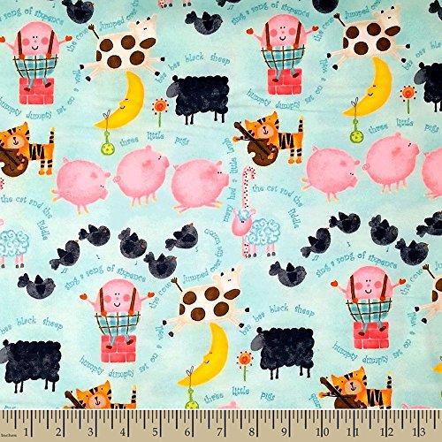 Comfy Nursery Rhyme Flannel Fabric Sold by the yard