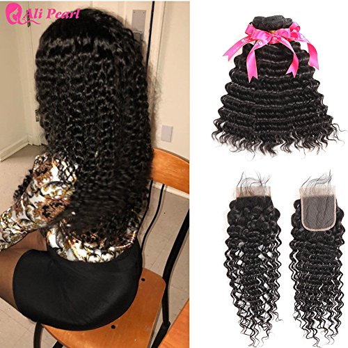 Ali Pearl 3 Bundles Deep Wave Hair With 4x4 Lace Closure Ali Pearl Deep Wave Brazilian Human Hair Unprocessed Deep Curly Hair Extentions (16 18 20+14 closure)