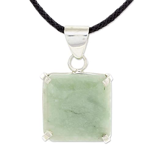 NOVICA Jade .925 Sterling Silver Pendant Necklace, 18 Abstract Square