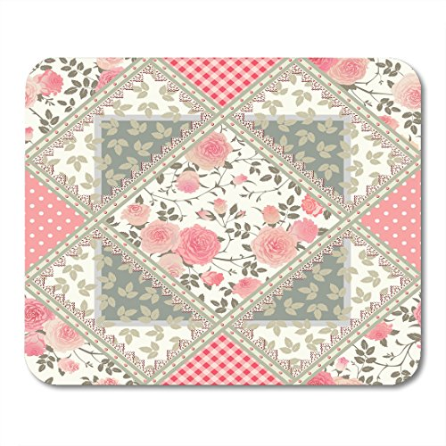- Nakamela Mouse Pads Green Quilt Floral Patchwork Pattern with Roses Leaves and Lacy Frames Rhombus Tiled Pink Abstract Mouse mats 9.5