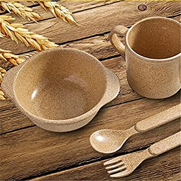 Plant fiber 6 Sets baby dinnerware Child Bowls Set Soup Bowl Cup Spoon : baby dinnerware - Pezcame.Com