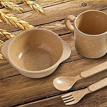 Plant fiber 6 Sets baby dinnerware Child Bowls Set Soup Bowl Cup Spoon & Amazon.com : Biodegradable !! Plant fiber 6 Sets baby dinnerware ...