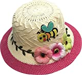 Ababalaya SPF 50+ UV Protection Flower Butterfly Straw Sun Hat for Girls 2-7T 31 Types,04Rose