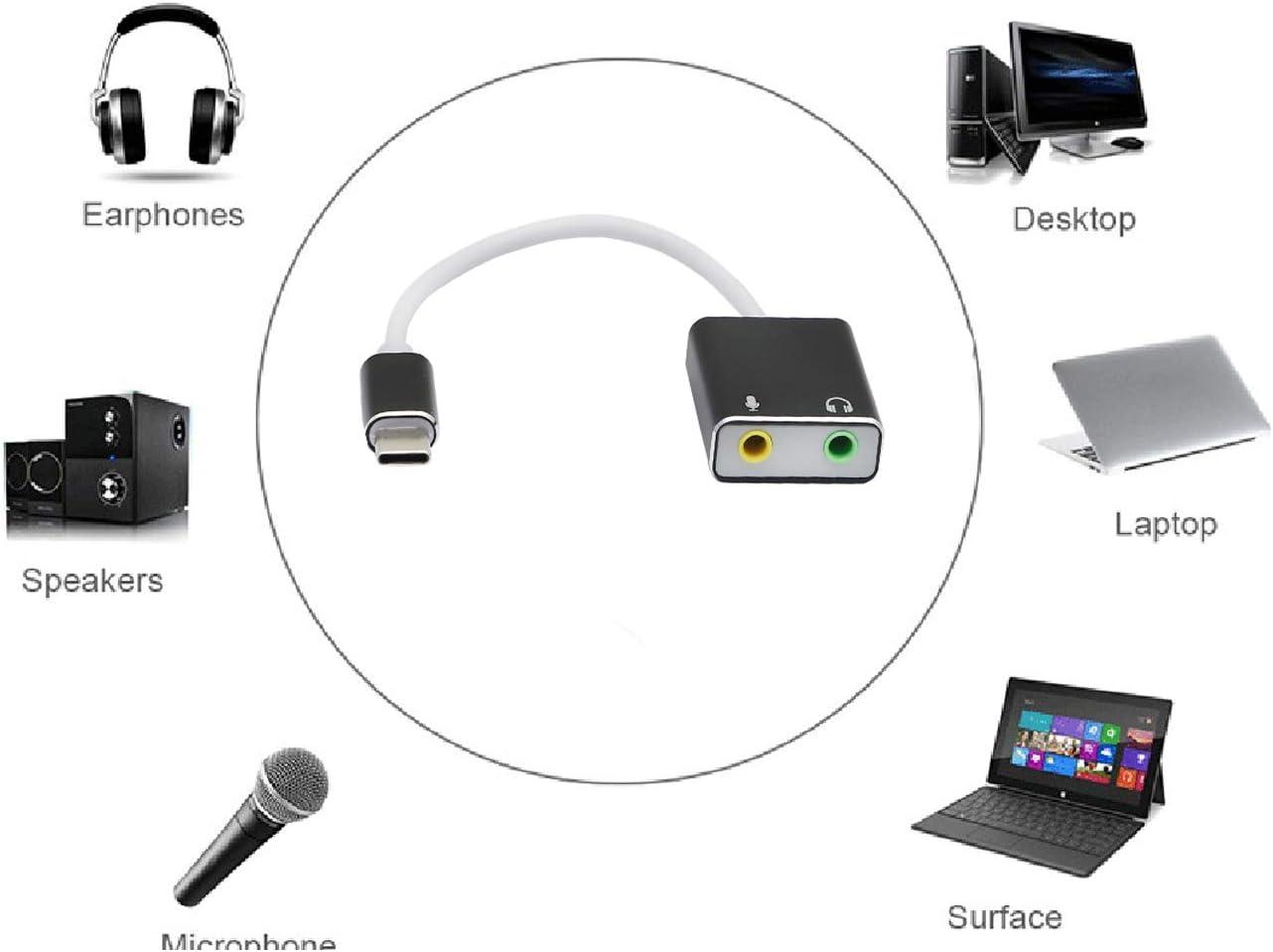 adaptador de tarjeta de audio 7.1 canales Tarjeta de sonido externa USB C tarjeta de sonido est/éreo externa tipo C con jack de 3,5 mm