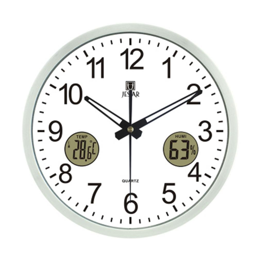 Amazon.com: DHXY Simple Creative Wall Clock With Thermometer Humidity Mute Round Living Room Office Quartz Clocks And Clocks , white - gold metal frame: ...