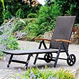 MBN Recliner Outdoor Patio Pool Furniture Portable Beach Chaise Lounge Rattan Adjustable Folding