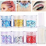 Body Glitter for Face Hair and Nail with Long Lasting Fix Glue, 6 Colors Holographic Chunky Glitter Cosmetic Makeup Party Decoration Temporary Tattoos