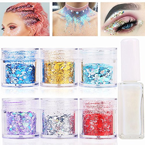 Glue Glass Gold (Body Glitter for Face Hair and Nail with Long Lasting Fix Glue, 6 Colors Holographic Chunky Glitter Cosmetic Makeup Party Decoration Temporary Tattoos)