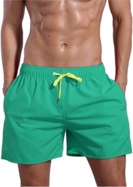 TALLA M(waistline=34-36inch). ORANSSI Men's Solid 16-Inch Waterproof Swim Trunks