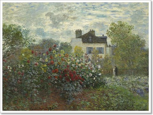 The Artist'S Garden In Argenteuil (A Corner Of The Garden With Dahlias) By Claude Monet Paper Print Wall Art (24in. x 32in.)
