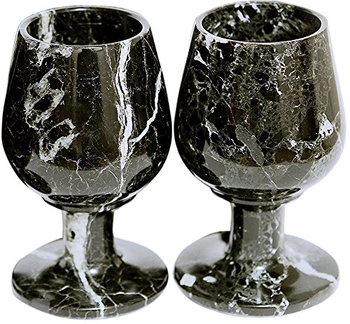 RADICALn Marble Wine Glasses 5.4 oz 5 x 3 inches - Set of 2 Glasses - Available in Different Colors (Black)