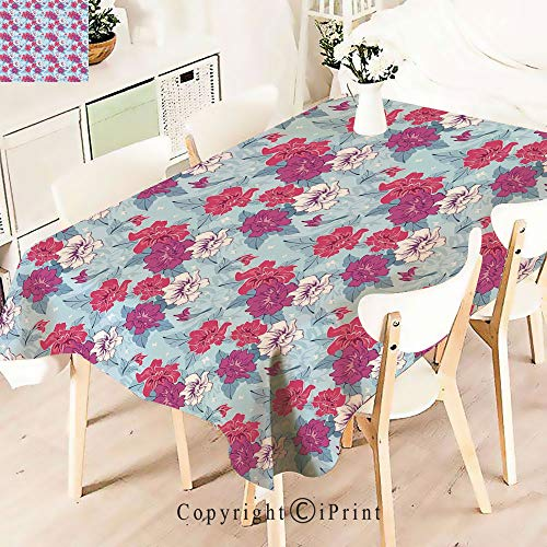 Lively Leaves Desk Topper - Party Decorations Polyester Tablecloth,Lively Blooms and Leaves with Little,Waterproof Stain Resistant Table Topper,W55 xL71,Fuchsia Coral Pale Blue